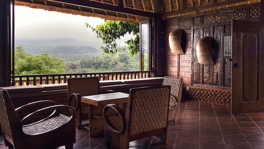 View of Mount Agung from Bali Asli Restaurant