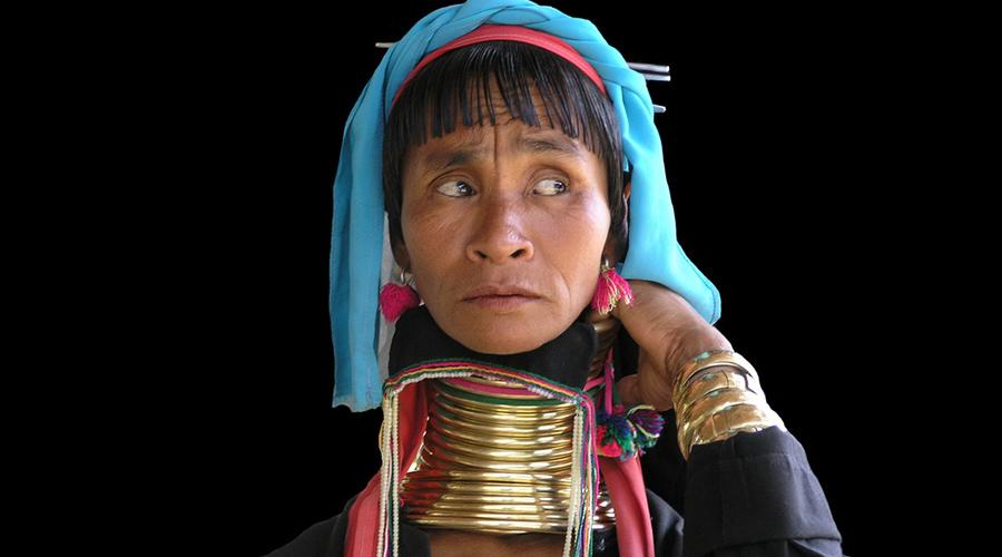 Padaung женщина в штате Каях