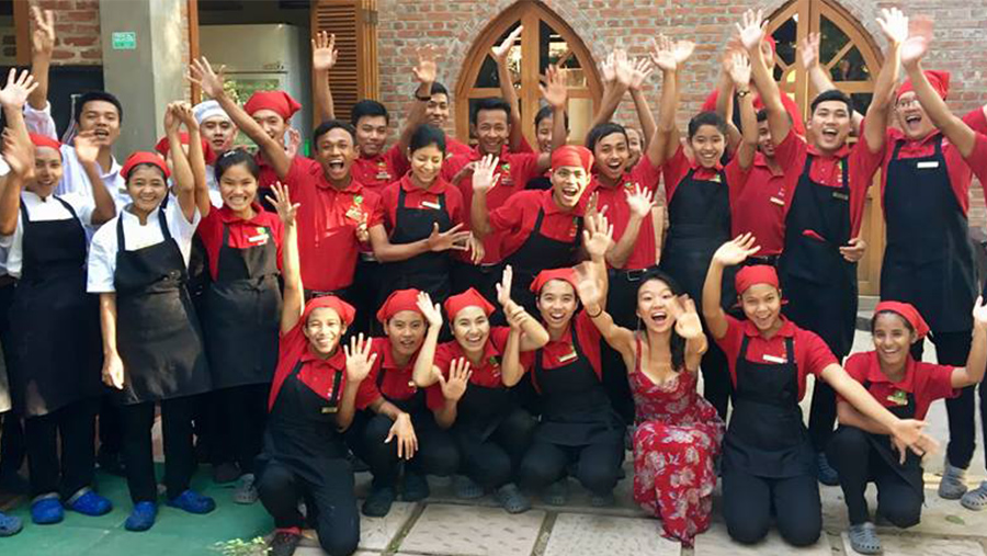 Staff at Sanon Restaurant, Myanmar